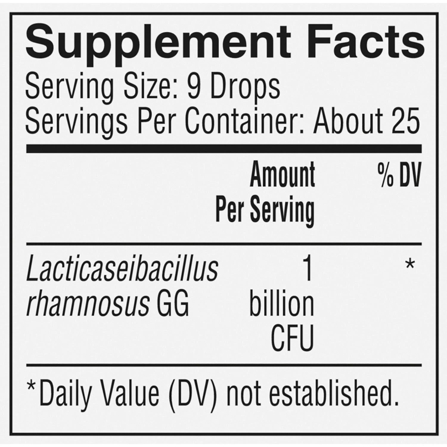Protect Replenishing Probiotic Drops Nutrition Label