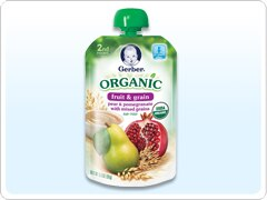 2ND FOODS<sup>®</sup> Organic Fruit & Grain Purees – Pear & Pomegranate with Mixed Grains
